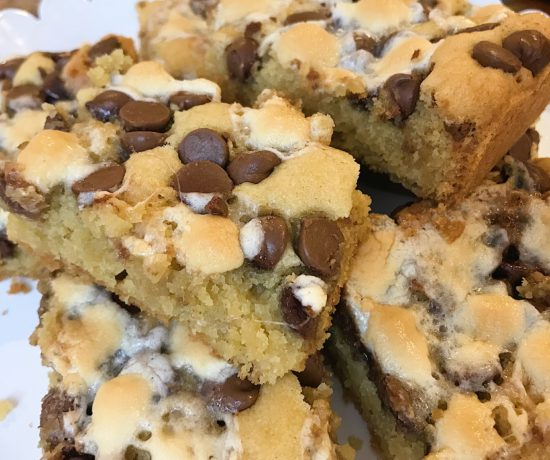 S'mores Cookie Bars - loaded with chocolate chips and marshmallows; from DarlingSouth.com